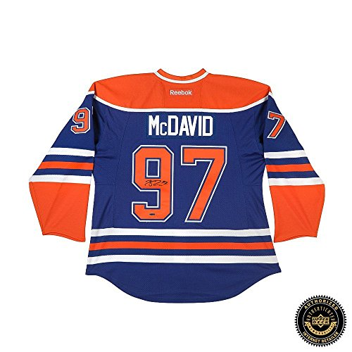 Connor McDavid Autographed/Signed Edmonton Oilers Authentic Reebok Blue Jersey