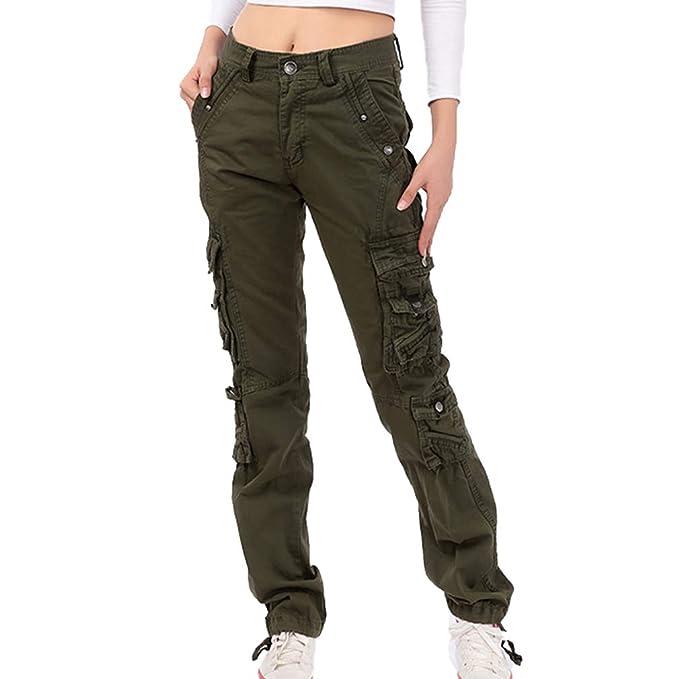data di rilascio: 4eb60 af8c4 Pantaloni Cargo da Donna - Moda Stile Militare Pantaloni da Combattimento  con Tasche Multiple Donna Slim Fit Casual Cargo Pantaloni Lunghi Sei Colori  ...