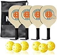N1Fit Wood Pickleball Paddle 4 Pack, Wooden Pickleball Paddles, Pickleball Set with 1 Carry Bag and 6 Balls, 7