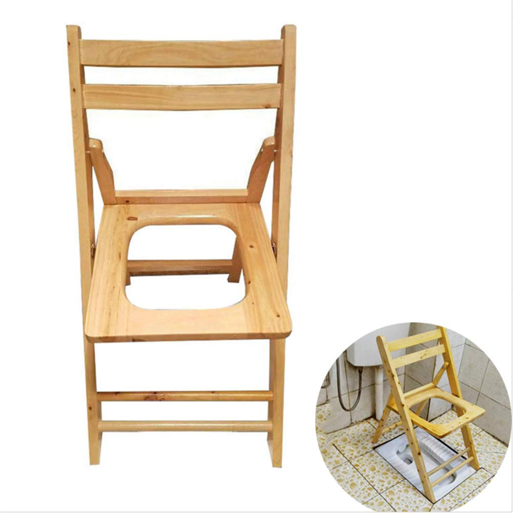 HUILIZ Folding Commode Portable Toilet Seat-Wood Commode Chair Toilet Safety Rails,- Suitable for The Elderly, Pregnant Women, People with Reduced Mobility Toilet Stool - Home Care by Bath chair