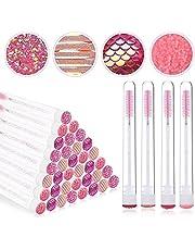 EBANKU 40 Pieces Pink Mascara Brushes Tubes Set Reusable Diamond Empty Mascara Wand Tube Disposable Crystal Eyelash Brush Mascara Wands Spoolies for Women Girls Makeup