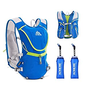 Triwonder Professional 8L Outdoors Mochilas Trail Marathoner Running Race Hydration Vest Hydration Pack Backpack (Blue - with 2 Soft Water Bottles (350ml))