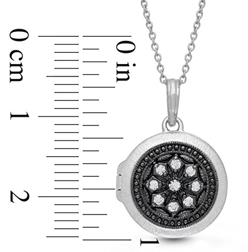 Oxidized-Sterling Silver-White Topaz-Custom Photo Locket Necklace-18inch chain-The Roxy by With You Lockets by With You Lockets (Image #3)