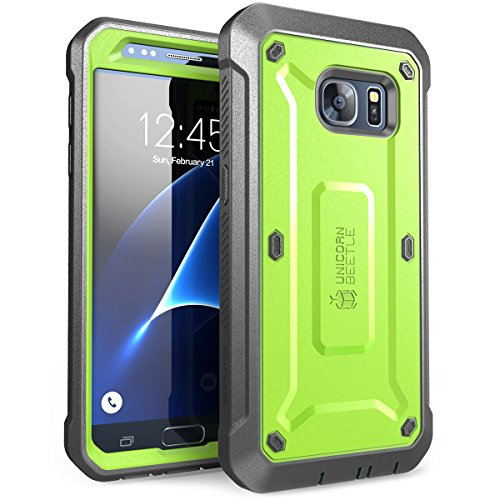 Galaxy S7 Case, SUPCASE Full-body Rugged Holster Case with Built-in Screen Protector for Samsung Galaxy S7 (2016 Release), Unicorn Beetle PRO Series - Retail Package (green/Gray) (Case Green Screen)