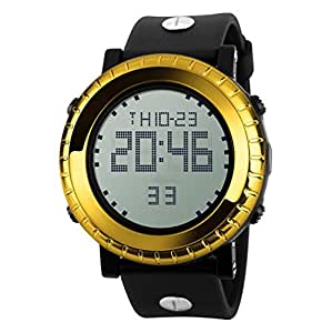 Outdoor Sports Watch Multi-functional Waterproof Electronic Watch Men's Fashion Watches,Gold