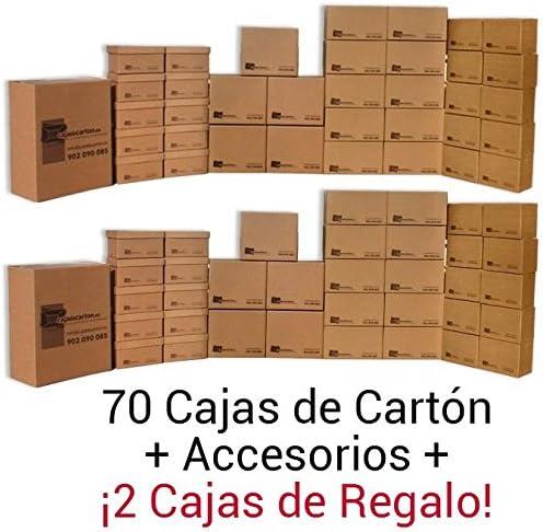 1 Pack cajas de mudanza MEDIA. 72 Cajas de diferentes tamaños + accesorios. Alta resistencia.: Amazon.es: Oficina y papelería