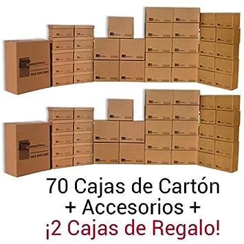 Cajadecarton - Pack de Cajas para Mudanza MEDIA, 70 Cajas Surtidas + 2 Cajas de Regalo + Material de Embalaje Diverso: Amazon.es: Oficina y papelería