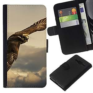 Planetar® Modelo colorido cuero carpeta tirón caso cubierta piel Holster Funda protección Para Samsung Galaxy Core Prime ( Búho Hawk Predator caza de aves rapaces )