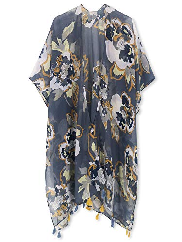 Moss Rose Women's Beach Cover up Swimsuit Kimono Cardigan with Bohemian Floral Print (Dusty Blue Garden)
