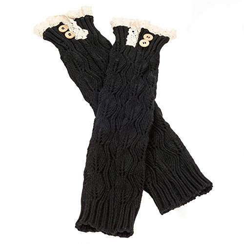 """Lace Top Boot Toppers Leg Warmers (17"""" Black)"""