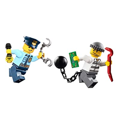 LEGO City Police Minifigure - Policeman and Jail Prisoner Chase (with Accessories) 60044: Toys & Games