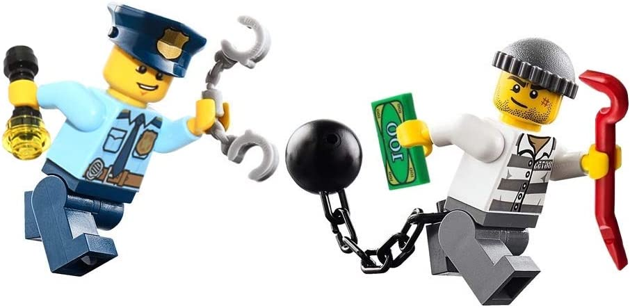 LEGO City Police Minifigure - Policeman and Jail Prisoner Chase (with Accessories) 60044