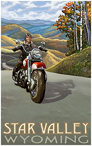 Star Valley Wyoming Motorcycle Rider Travel Art Print Poster by Paul A. Lanquist (24