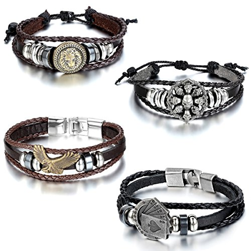 Aroncent 4pcs Vintage Handmade Leather Bracelet Adjustable Cuff Eagle Lion Skull Poker Wristband