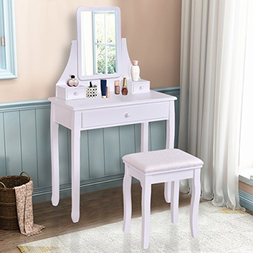 Giantex White Bathroom Vanity Dressing Table Set Mirror with Stool (Rectangler Mirror)