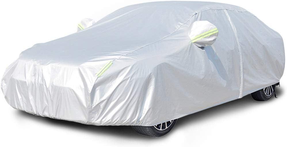 Couvertures de Voiture Couverture Housse De Voiture Compatibles avec Peugeot 206//207//307//308CC Coupe Couverture /Étanche avec Bande Fluorescente Bache Voiture Anti Neige//Glace//Pluie//Poussi/ère//UV Tissu