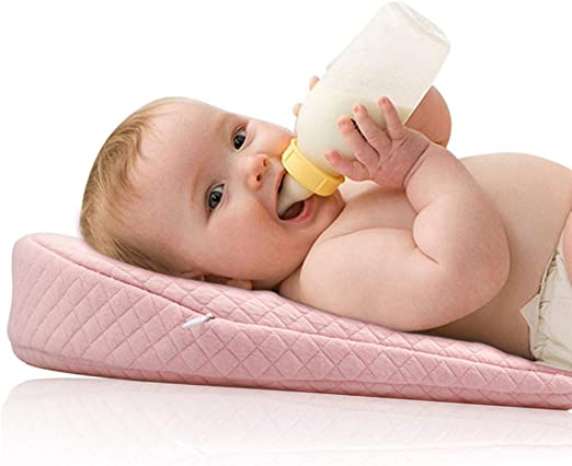 Crib Wedge for Baby Nursing Memory Foam Baby Sleeping Wedge Pillow Infant Sleep Pillow with Removal Waterproof Cotton Cover Pink