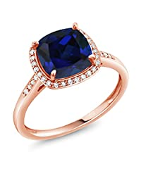 2.50 Ct Cushion Blue Simulated Sapphire 10K Rose Gold Ring with Diamond Accent (Available in size 5,6,7,8,9)