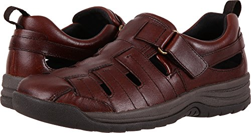 Drew Shoe Men's Dublin Fashion Sandals, Brown, Leather, Suede, Rubber, Memory Foam, 10 W by Drew Shoe