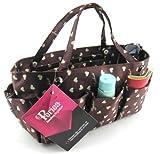 Periea Handbag Organiser Medium Brown with Cream Hearts - Tilly