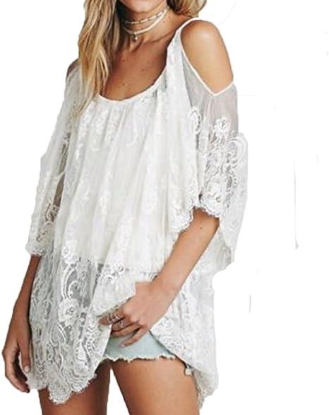CHRONSTYLE Bikini Cubrir Mujer, Trajes de Bikini Playa Cover Up para Mujer, Vestido Protector Solar Camisa Sólido Color Playa Vestir Poncho Elegante Cordón Blusa: Amazon.es: Ropa y accesorios