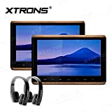 XTRONS 2 x 10.2 Inch Pair HD Digital TFT Screen Touch Panel 1080P Video Car Active Headrest DVD Player New Version Black IR Headphones