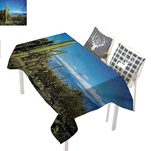 Desert Party Supplies Tablecloth Wide View of The Tucson Countryside with Cacti Rural Wild Landscape Arizona PhoenixGreen Blue Rectangle Tablecloth W60 xL102 inch -