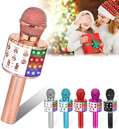 Verkstar Wireless Microphone, Bluetooth Karaoke Speaker Mic Toy for Kids Adults Birthday with LED Lights and Recording Magic Sing Portable Handheld Karaoke Machine