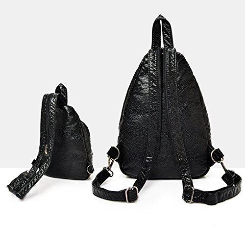 Mujer Nuevo Suave PU mochila Moda Cuero Lavable Paquete De Cofres Diamante Negro Doble Capa Multifunción Mochila Bolso 2