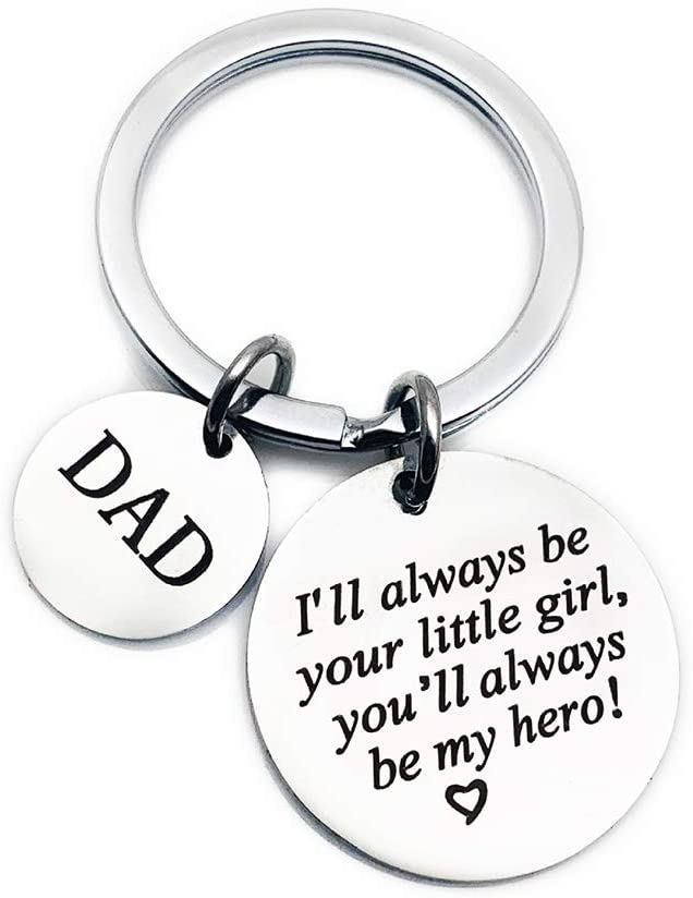 Father's Day Gift Keychain from Daughter for Birthday Father Christmas Day, Dad Gift from Daughter-Be Your Little Girl, My Hero, Stainless Steel Keychain