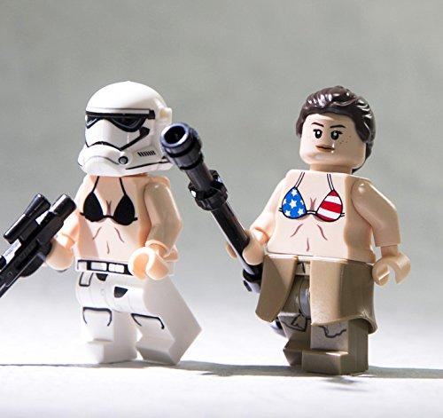 Stars & Stripes Bikini Curved Torso (Light Flesh) - LEGO Compatible