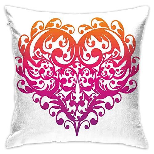 Uanlic Decorative Throw Pillows Covers with Insert,Vibrant Abstract Heart with Ornament Pattern Swirls Curls Scroll Style,18x18 Inches Square Patio Cushions for Couch Bed Sofa Patio Furniture (Furniture Patio Square Uk Covers)