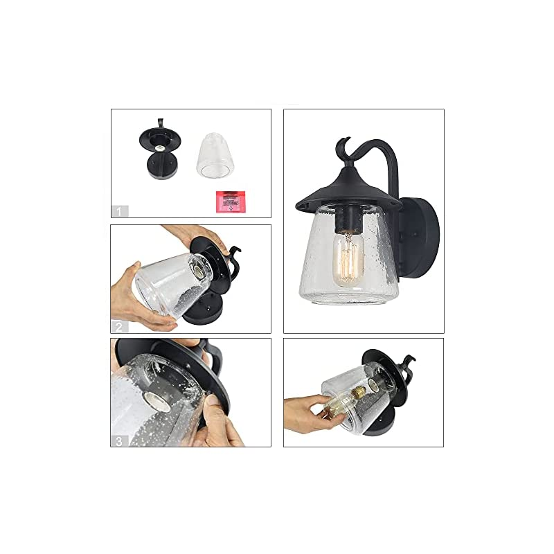 LOG BARN Outdoor Wall Light,Farmhouse Exterior Lantern in Black with Seeded Glass for Porch Barn A03356, 1-Light Light