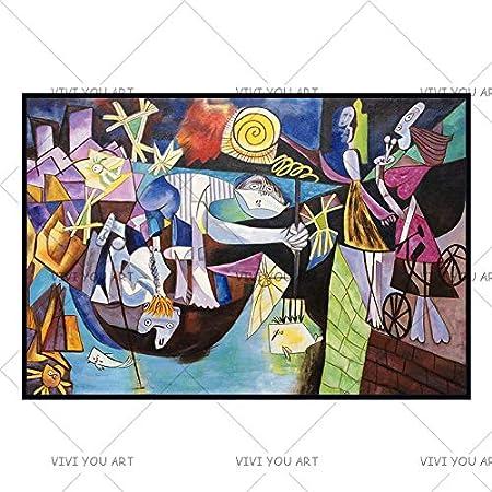 QCZC Cuadro en acrílico España Francia Picasso Guernica 1937 Alemania Figura Pintura Dibujo Abstracto Hecho a Mano Pintura al óleo Sin Marco Decoración para el hogar Lienzo 100x150cm