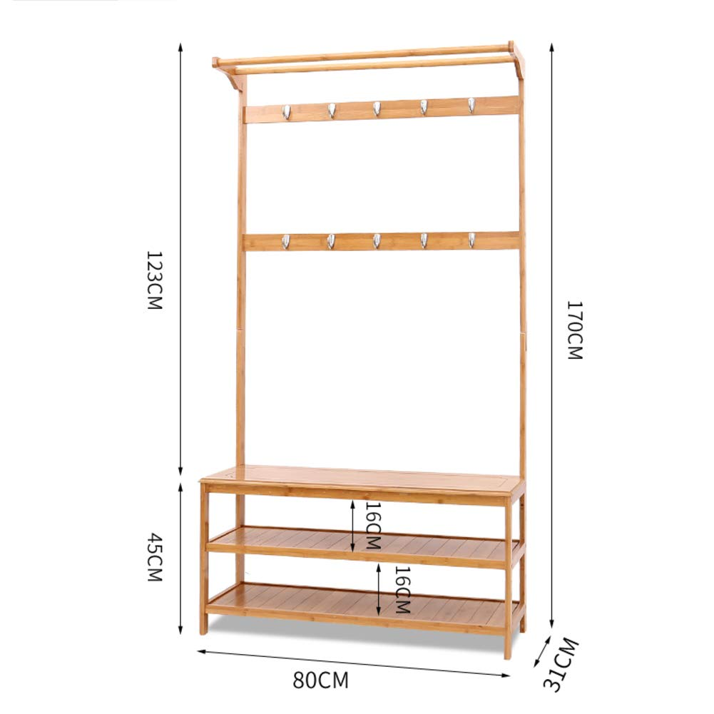 D 80x31x170cm(31x12x67inch) Concise Entryway Hall Coat Rack, Hangers, Floor Stand shoes Rack Bench, 2 in 1 Multipurpose Wooden Non-Toxic Stability Modern-B 60x31x170cm(24x12x67inch)