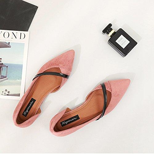 Xue Qiqi Court Schuhe Spitz Flache Schuhe Flachen Mund Mund Mund Seite Flach mit Wildleder Dünnen Riemen Set Low-Heels Damen Sandalen 72bef7