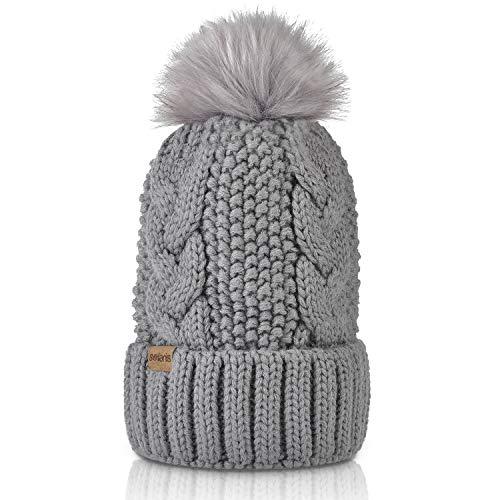 Womens Pom Pom Beanie Winter Hat Stretch Soft Knit Skull Ski Cap, Best Gifts for Birthday, Holiday ()