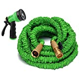 Gardees Tm 50 Ft Expandable Garden Hose -Solid Brass End + 8 Function Spray Nozzle and Shut-off Valve,Best Flexible Water Hose