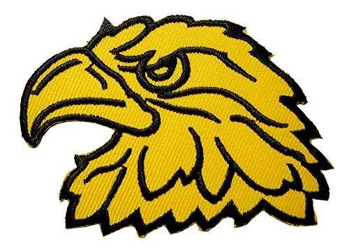 Yellow Hawk Eagle Head Motorcycles Biker Embroidered Iron on Patch Free Shipping