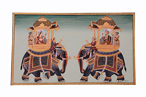 Mughal Miniature Royal Art Handmade Ambabari Elephant Stonecolor Ethnic Painting Lively to Decor Your Home Hotel Office Bedroom Lobby or Living Room by Handmade