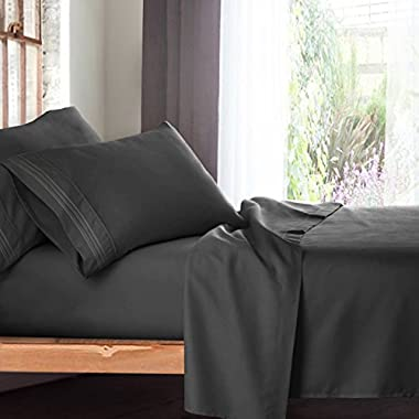 Queen Size Bed Sheets Set, Grey Charcoal (Gray) - Soft Luxury Best Quality 4-Piece Bed Set - Features Special Tight Fit Corner Straps on Extra Deep Pocket Fitted Sheets + Fun  Better Sleep Guide