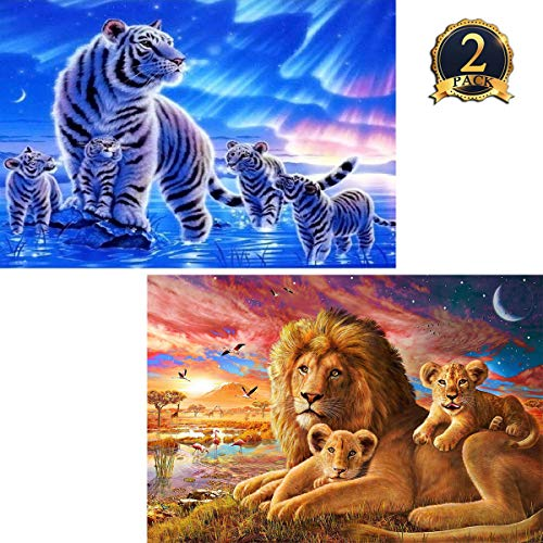 2 Pack 5D Diamond Painting Tigers & Lions Full Drill by Number Kits for Adults Kids, Ginfonr Craft Rhinestone King of Polar Regions & Oasis Paint with Diamonds Set Animal Arts Decorations (12x16inch)