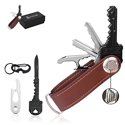 Key Organizer Leather - Self Defence Keychain Set with Enhanced Secure Locking Mechanism | Smart & Compact Car Keys Holder - Bonus Folding Knife, Carabiner & EDC Stainless Steel Multitool (Ring Set Key)