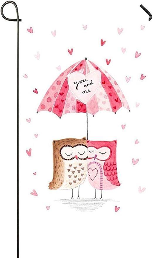 NA Tú y yo, Dulce Amor, Abrazo, búho, Pareja, Corazones, Paraguas, día de San Valentín, jardín, Bandera, casa, Bandera, decoración, Bandera de un Solo Lado, 12 x 18 Pulgadas: Amazon.es: Jardín