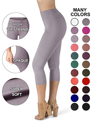 SATINA High Waisted Super Soft Capri Leggings - 20 Colors - Reg & Plus Size (One Size, Gray) (Capris Womens Gray)