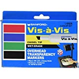 Expo Vis-A-Vis Wet-Erase Overhead Transparency Markers, Chisel Tip, 4-Pack, Assorted Colors