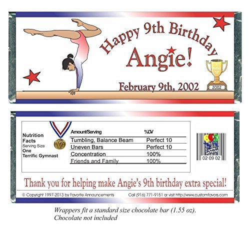 Dinner Balance (Gymnastics Birthday Party Favors, Personalized Wrappers for Chocolate Bars (set of 12)(W101/K68))