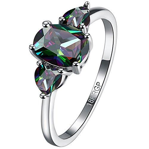 BOHG Jewelry Womens Platinum Plated Oval Love Heart Mystic Rainbow Topaz 3 Stone CZ Crystal Ring Wedding Size 7 (Rainbow Crystal Heart)