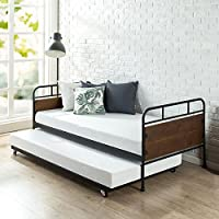 Zinus Santa Fe Twin Daybed and Trundle Frame Set / Premium Steel Slat Support / Daybed and Roll out Trundle / Accommodates Twin Size Mattresses Sold Separately