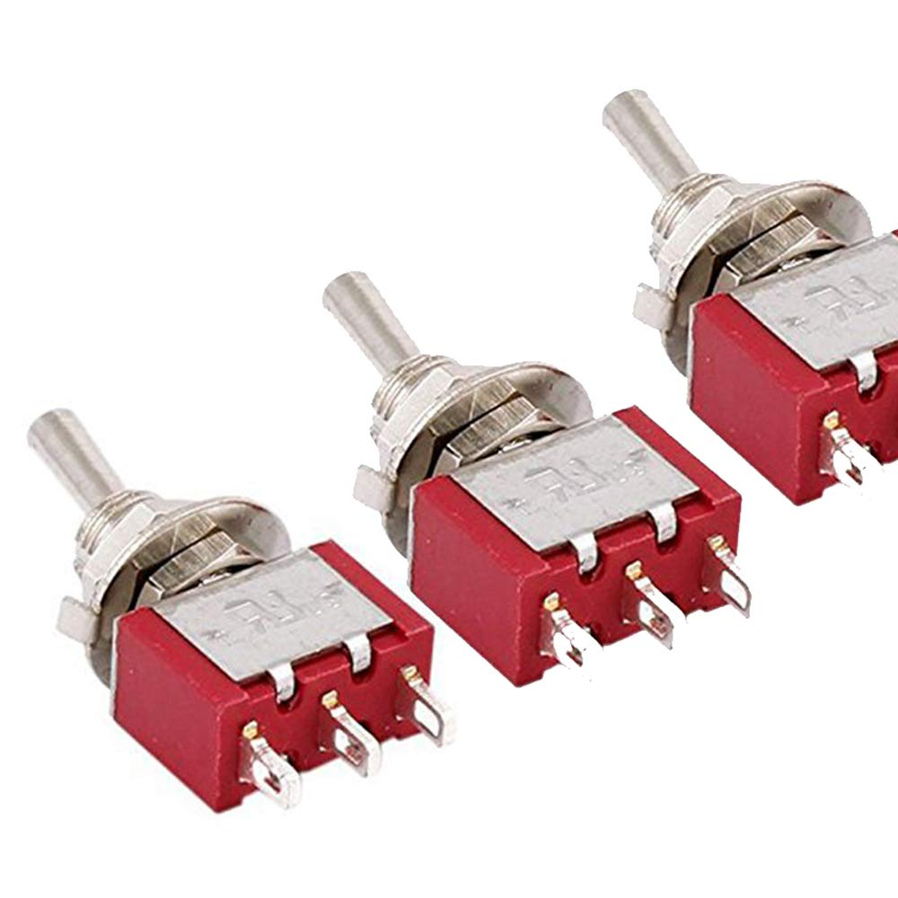 Potelin Premium Quality Momentary Lever Switch SPDT 2 Ways-6mm Mount-3 Pieces-AC250V 2A 120V 5A